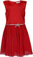 ShopperTree Girls Mini/Short Party Dress(Red, Sleeveless)