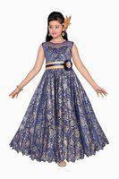 Adiva Girls Maxi/Full Length Party Dress(Blue, Sleeveless)