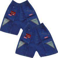 Jisha Fashion Short For Boys Cotton Linen Blend, Nylon Blend(Blue)