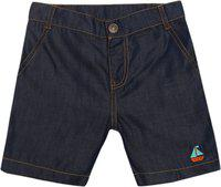 Nino Bambino 100% Pure Organic Cotton Solid Plain Blue Denim Shorts for Baby Boy with Zipper and Pockets