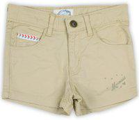 Palm Tree Short For Girls Casual Solid Cotton Blend(Beige, Pack of 1)
