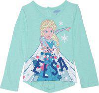 Frozen Girls Graphic Print Cotton Blend T Shirt(Light Green, Pack of 1)