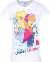 Frozen Girls Graphic Print Cotton Blend T Shirt(White, Pack of 1)