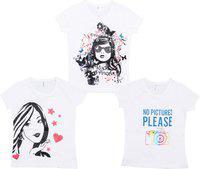 Gkidz Girls Printed Cotton Blend T Shirt(White, Pack of 3)