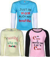 Gkidz Girls Printed Cotton Blend T Shirt(Blue, Pack of 3)