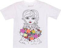 Eimoie Girls Printed, Applique Cotton Blend T Shirt(White, Pack of 1)