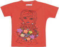 Eimoie Girls Printed, Applique Cotton Blend T Shirt(Orange, Pack of 1)