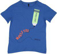 United Colors of Benetton Boys Solid Cotton Blend T Shirt(Blue, Pack of 1)