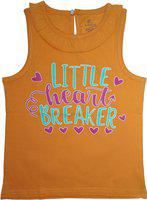 KiddoPanti Girls Graphic Print Cotton Blend T Shirt(Orange, Pack of 1)