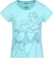 Frozen Girls Graphic Print Cotton Blend T Shirt(Blue, Pack of 1)