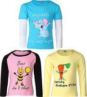 Gkidz Girls Printed T Shirt(Multicolor)