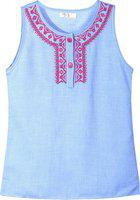 Caca Cina Girls Casual Chambray Tank Top(Light Blue, Pack of 1)