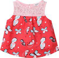 Beebay Baby Girls Casual Cotton Blend Woven Top(Red, Pack of 1)