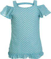 UFO Girls Casual Cotton Blend Top(Blue, Pack of 1)
