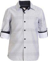 UFO Boys Printed Casual White Shirt