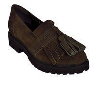 Salt N Pepper Black Real Leather Women's Slip On Shoes