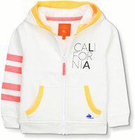 Cherry Crumble California Kids Unisex Cotton HD Print Varsity Stripe Hoodie (White, 18-24 Months)