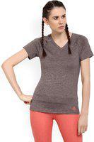 ADIDAS Self Design Women V-neck Purple T-Shirt