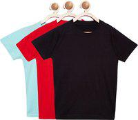 FirstClap Boys & Girls Solid Cotton Blend T Shirt(Multicolor, Pack of 3)