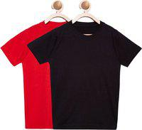 FirstClap Boys & Girls Solid Cotton Blend T Shirt(Multicolor, Pack of 2)