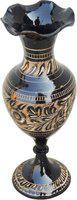 Brass Gift Center Brass Flower Vase With Handwork Black Color Brass Vase(7.5 inch, Multicolor)