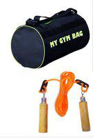 Monika Sports gym bag + wooden skipping rope for exercise in home & gym Gym & Fitness Kit