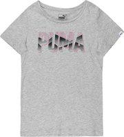 Puma Girls Printed Cotton Blend T Shirt(Grey, Pack of 1)