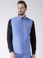 hangup Men's Blended Bandhgala Festive Nehru Jacket/Waistcoat and Size Options (Up to2XL) Blue