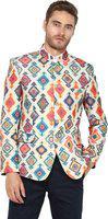 Hangup Men Multicoloured Ethnic-motifs Design Single-breasted Bandhgala Blazer