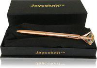 Jaycoknit Rose Gold Buchau Metal Top Crystal Corporate Pen Gift Set,Pen for Gifting Ball Pen