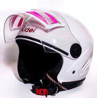 RIDER OPEN FACE NEW TECH WHITE Motorbike Helmet(White)