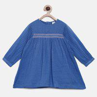Mini Klub Baby Girls Cotton Blend A-line Top(Blue, Pack of 1)