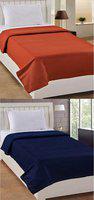 The Home Talk Plain Single Fleece Blanket(Polyester, Orange & Blue)