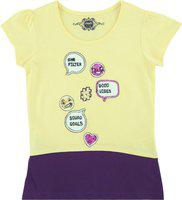 Chalk by Pantaloons Girls Printed Cotton Blend T Shirt(Yellow, Pack of 1)