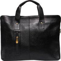 OBANI 20 ltr Black Leather Laptop messenger bag