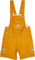 FirstClap Cotton Short Length Dungaree for Boys & Girls |Dress for Boys|Jumpsuit for Kids|Unisex Gold