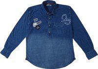 Palm Tree Boys Blue Standard Regular Fit Solid Casual Shirt