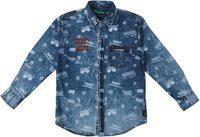 Palm Tree Boys Blue Standard Regular Fit Printed Casual Shirt