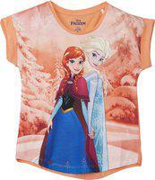 Frozen Girls Graphic Print Polycotton T Shirt(Orange, Pack of 1)