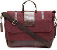 The House of Tara Unisex Maroon & Brown Colourblocked Leather Laptop Bag