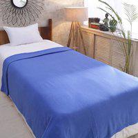Azaani Plain Single Fleece Blanket(Polyester, Blue)