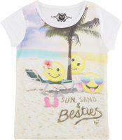 Chalk by Pantaloons Girls Graphic Print Cotton Blend T Shirt(White, Pack of 1)