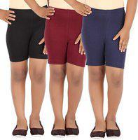 Eazy Trendz Fashion - Girls Lycra 4 Way Stretchable Cycling,Yoga,Jogging Shorts/Tights,190 GSM Pack of 3 (Black,Navy,Brown)