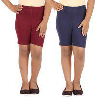 Eazy Trendz Fashion - Girls Lycra 4 Way Stretchable Cycling,Yoga,Jogging Shorts/Tights,190 GSM Pack of 2 (Brown,Navy)