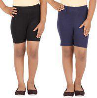 Eazy Trendz Short For Girls Casual Solid Cotton Lycra Blend(Multicolor, Pack of 2)