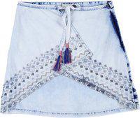 Gini & Jony Solid Girls Regular Blue Skirt