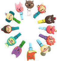 Nyrwana Cute Cartoon Postcard Clothes Small Wooden Photo Paper Peg Pin Clothespin Wooden Clips 12 Pcs(Set of 12, Multicolor)