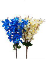SAF ARTIFICIAL BLOSSOM BUNCH FOR HOME DECOR 7 STICKS Multicolor Jasmine Artificial Flower(22 inch, Pack of 2)