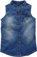 KiddoPanti Girls Casual Denim Shirt Style Top(Blue, Pack of 1)