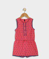 United Colors of Benetton Romper For Girls Polka Print Cotton Blend(Pink, Pack of 1)